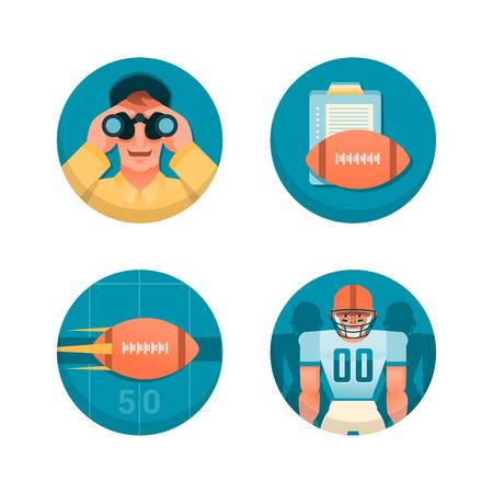 american football helmet set: American football theme illustrations
