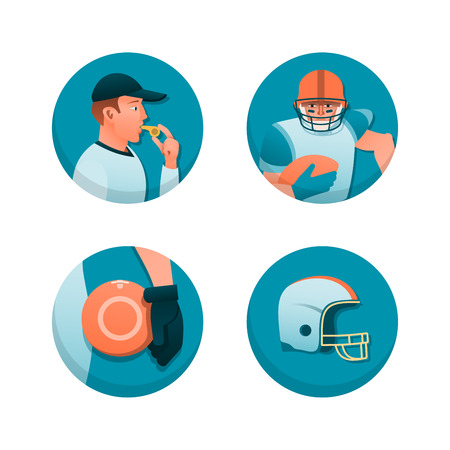 sports equipment: American football theme illustrations