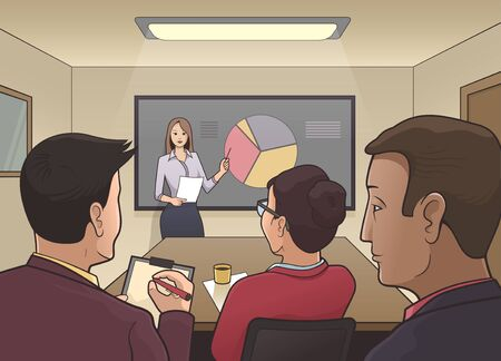 demonstrate: Illustration of a businesswoman giving a presentation to a audience in a conference room Illustration