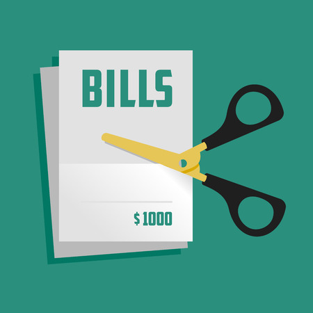 tax form: Illustration figuratively showing the process of bills cutting