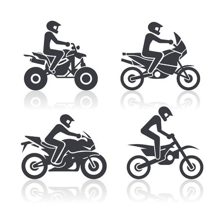 atv: Black and white icons of motorcycles representing different riding styles