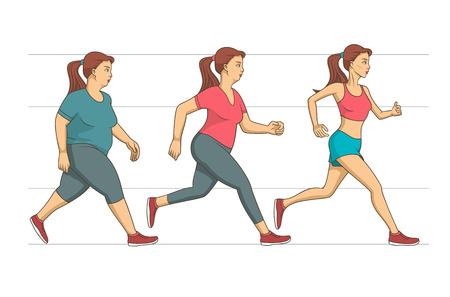 Jonge vrouw die haar run training om een overgewicht van haar lichaam te verliezen. Vector Illustratie