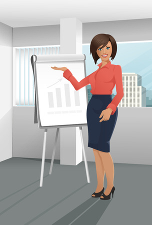 caucasian woman: Businesswoman giving a presentation standing near the window with a cityscape in the background