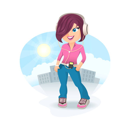 bob: Young girl in headphones listening to the music outdoors on a city square Illustration