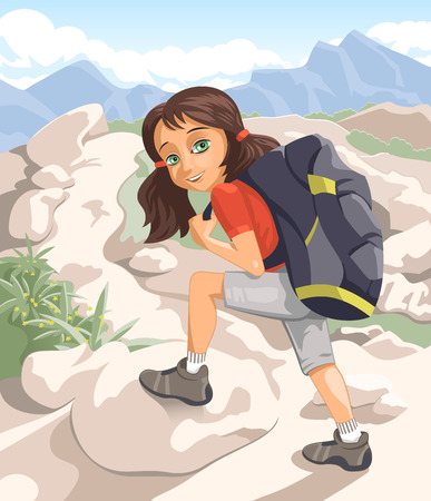 Girl hiking in mountains on a sunny day Vector