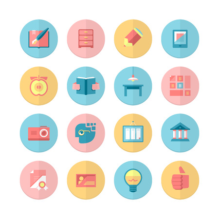 relating: A set of 16 flat icons relating for education and training process for your graphic & design project.