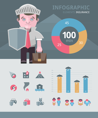 securing: Set of elements you will need to customize your insurance related infographic.