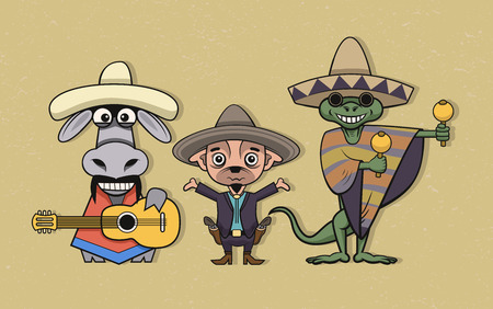 Illustration of mexican cartoon musicians in ethnical clothing.