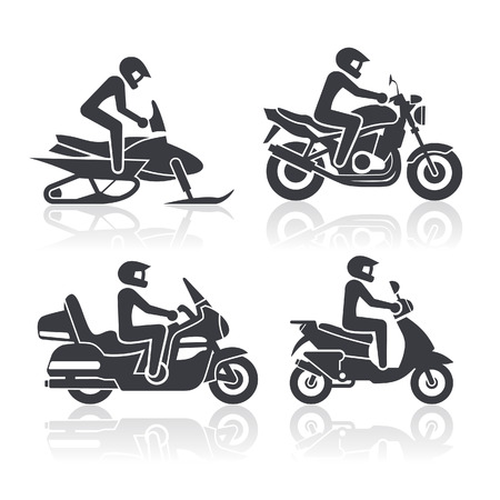 Black and white icons of motorcycles representing different riding styles
