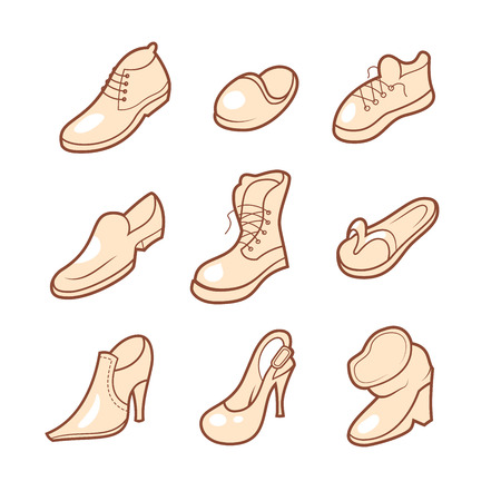 snickers: 9 hand drawn shoe icons