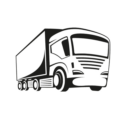 truck on highway: Black and white illustration of a truck