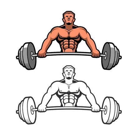 Strong man with a heavy bar