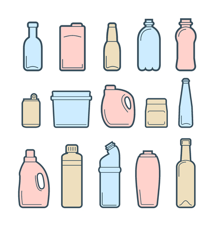 juice bottle: Icons set of used and empty beverage containers