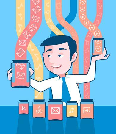 El hombre de negocios está reuniendo datos abstractos en recipientes transparentes. Ilustración es transmitir la idea de recopilar y organizar los datos.