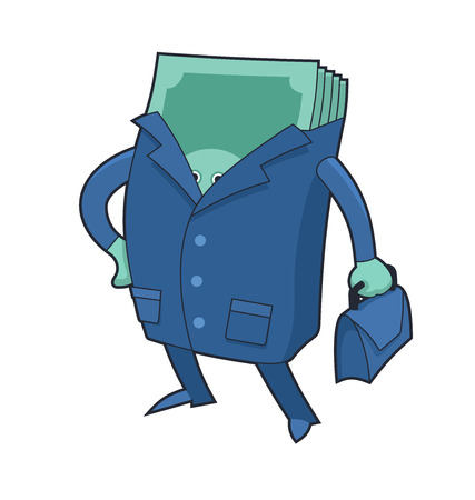 fortune concept: Wad of money character dressed in business clothing with a briefcase in his hand. Concept of fortune and wealth