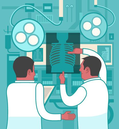 cooperating: Two doctors are collaborating while reviewing an X-ray image Illustration