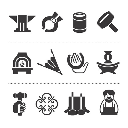 12 black icons of different accessories and attributes of blacksmithing Illustration