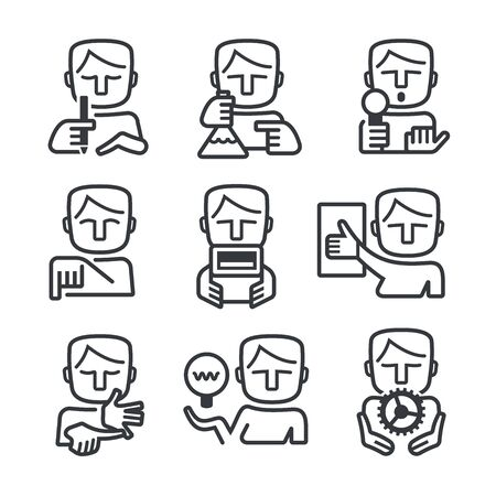 experimenting: Outlined icons of man showing different skills every manager or leader needs Illustration