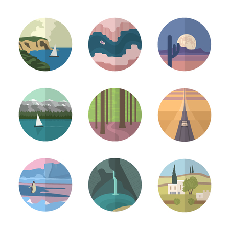 cascade mountains: Different types of landscapes of the Earth. 9 flat illustration icons Illustration