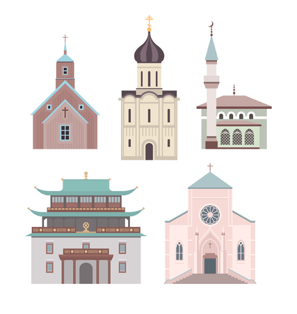 Set of illustrations showing different styles of architecture for classical church buildings of various religions Reklamní fotografie - 47797688