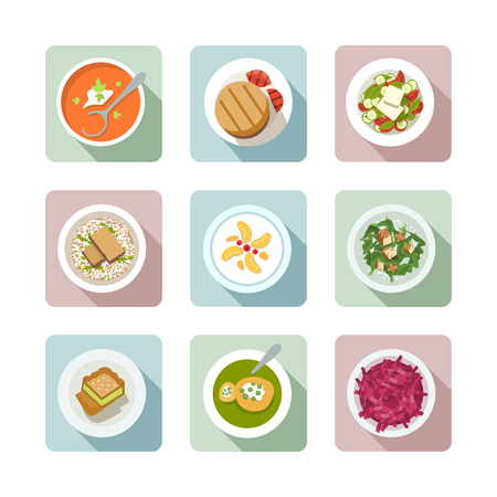 vegetable soup: Various vegetarian meals in flat illustration style. Top view