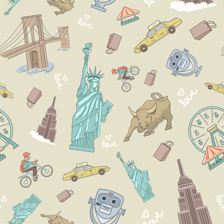 coney: Popular tourist destinations and famous sights of New York illustrated and arranged in seamless pattern.