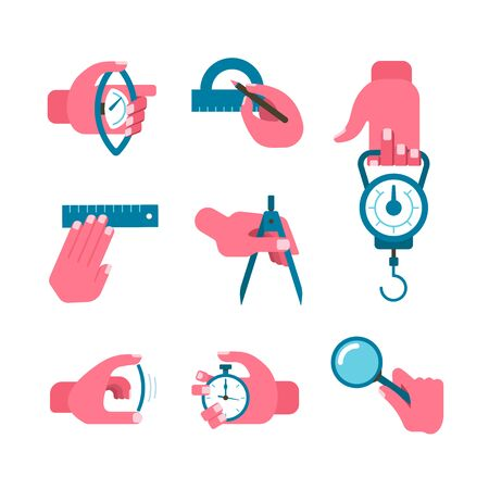 zooming: Set of vector icons of hands that are using different measuring instruments Illustration