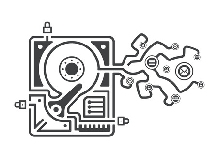 hard drive: Illustration figuratively showing a breach in data security system as a hard drive with information leaking from it.