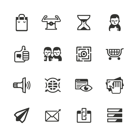 feedback link: Vector icons of measuring content marketing success Illustration