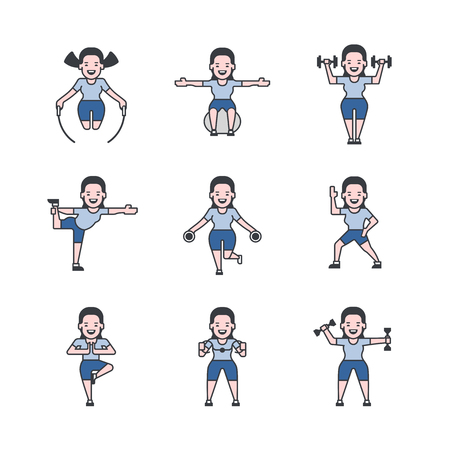 workout gym: Set of vector icons with fitness girl who showing some exercises of her gym workout. Each girl instance is on separate layer.