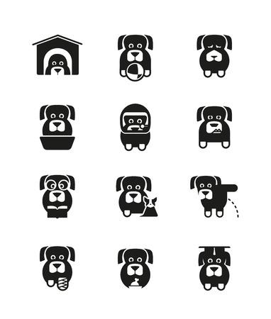 perro furioso: Conjunto de iconos de perros en diferentes situaciones de la vida canina