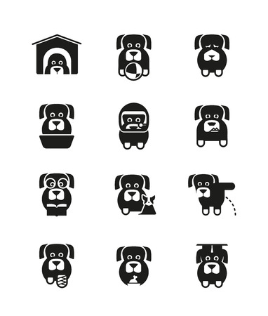 angry dog: Set of icons of dogs in different canine life situations