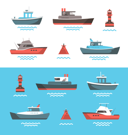 ships at sea: Set of little boats and buoys with blue sea background and isolated on white. Side view illustration.