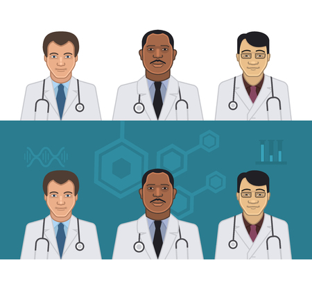 nationalities: Doctors of different nationalities on light and dark background