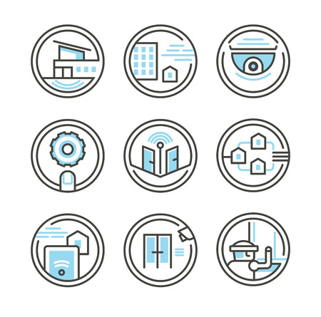 remote access: Icons in outline style of residential security solutions Illustration