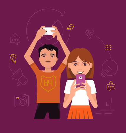 young generation: The concept of communication among the young generation with the help of modern digital devices Illustration