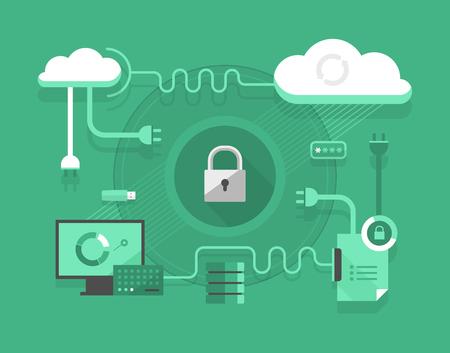 Concepto de seguridad de la computación en nube y la tecnología de hosting Foto de archivo - 47799016