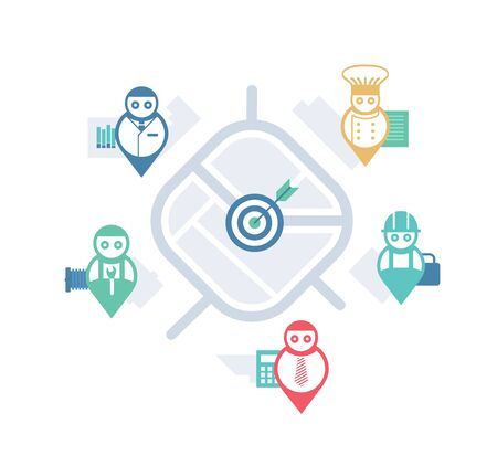 local business: Illustrated concept of local business services with abstract map elements Illustration