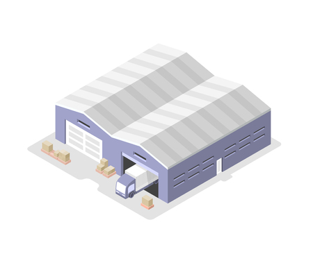 Truck moves out of the warehouse to deliver cargo. Isometric illustration