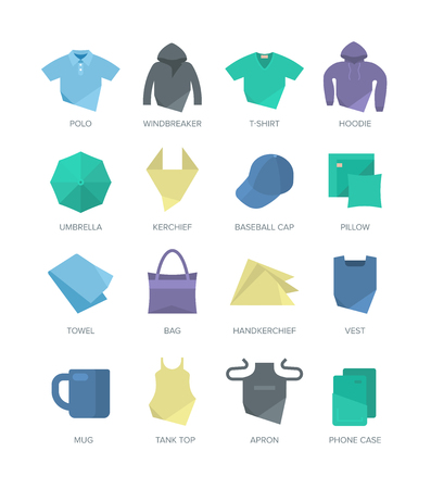 used items: Modern flat style icons of apparel, personal items and bedding for web and print design. Could be used as a template for showing print designs.