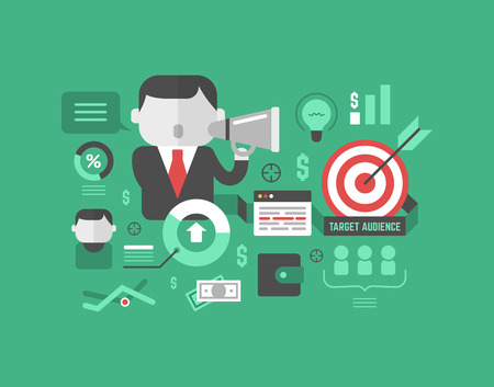 the audience: Target marketing concept in modern flat design style with graphs, icons and business related elements isolated on colored stylish background