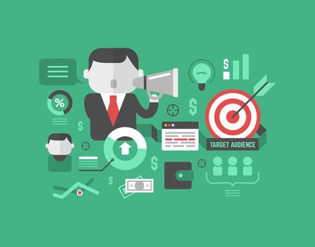 Objetivo concepto de marketing en el estilo de diseño plano moderno, con gráficos, iconos y elementos relacionados con el negocio aisladas en el fondo elegante de color