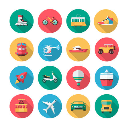 Collection of icons which contains illustrations of major land, air and sea vehicles.