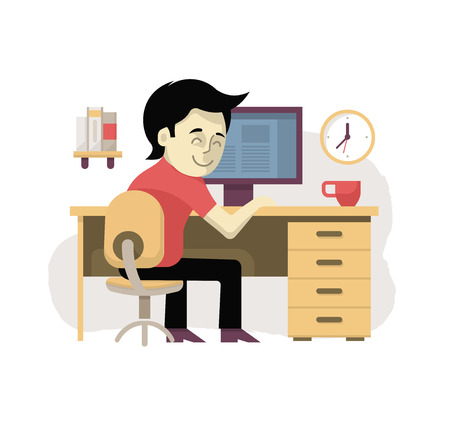 young business man: Freelancer at workplace working at the desktop computer from home. Illustration in modern flat design style