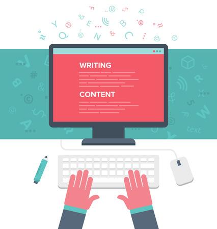 hombre escribiendo: Escribir un artículo para el blog en el ordenador