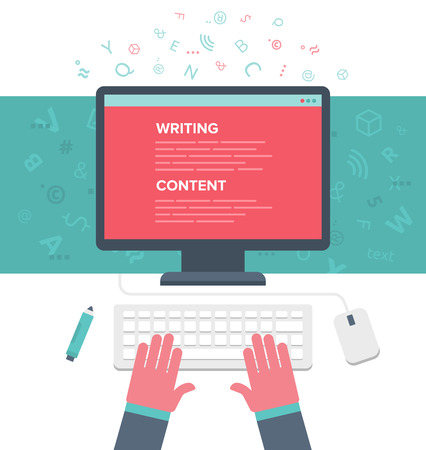 person writing: Writing an article for blog on computer