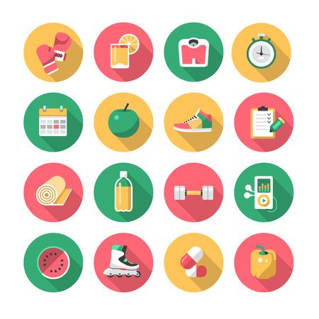 guantes de box: Los iconos del vector conjunto de símbolos de vida saludables y aparatos de gimnasia