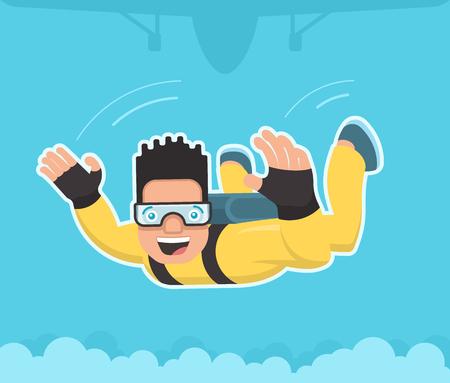 caida libre: Paracaidista con el mono amarillo en ca�da libre Vectores