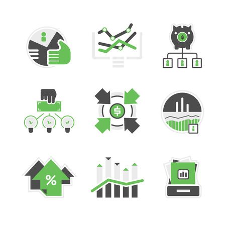 Set of icons of financial market and investment.  Illustration