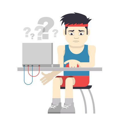 computer applications: Athlete in sportswear is experiencing difficulties when working at the computer. Concept of computer applications for sport.